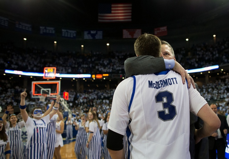 CU head coach Greg McDermott embraces his son, Doug McDermott (3) after they beat Wichita State 91-79. McDermott scored 41 points. Creighton played a basketball game against Wichita State at the CenturyLink Center Omaha on March 2, 2013, in Omaha, Neb.  By: MATT MILLER/THE WORLD-HERALD