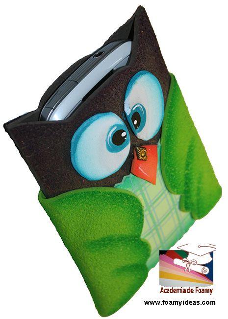 Mobile phone case. Made from foam EVA. Forro para celular. Hecho de foamy (goma EVA). Videotutorial: http://www.foamyideas.com/cursos foamyideas@gmail.com
