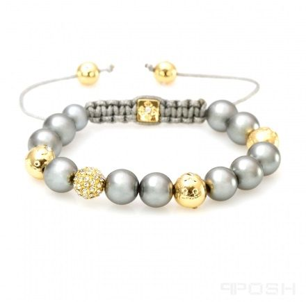 - Gold and Gunmetal Shamballa Bracelet - Acetate and metal beads expertly braided with quality nylon - One bead encrusted with gold sparkle  - Traditional shamballa style - Adjustable size for all wrists - Customized POSH bead -Dimension: 6 inches at tightest, 10.5 at loosest