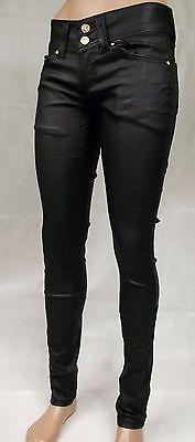 Miss Anna Damen Jeans Kunst Leder Hüft Hose Röhren Dark Schwarz 34 36 38 40 42