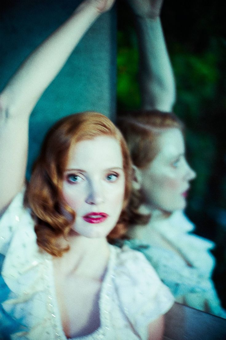 Jessica Chastain shows off a retro inspired beauty look with rouged cheeks and a red lip for Flaunt Magazine March 2016 issue