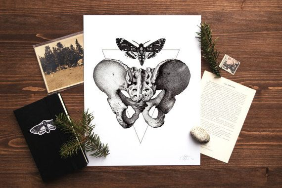 The original drawing, Acherontia Atropos/Os Pubis, was created using a dotwork or stippling drawing technique and combines and image of a deaths
