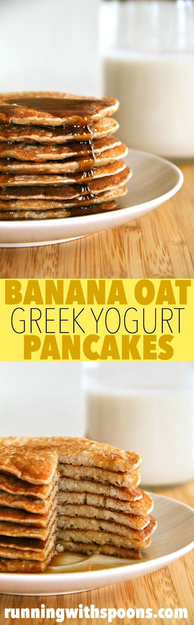 Banana Oat Greek Yogurt Pancakes -- with under 300 calories and 20g of protein for the ENTIRE recipe, these pancakes are a great way to start your day!    runningwithspoons.com