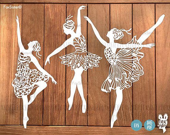 Ballerina SVG Bundle!! 3 Papercut Templates | Ballet Dancer svg cut files | Commercial and personal use | Paper Cut Out | for Cricut Cameo