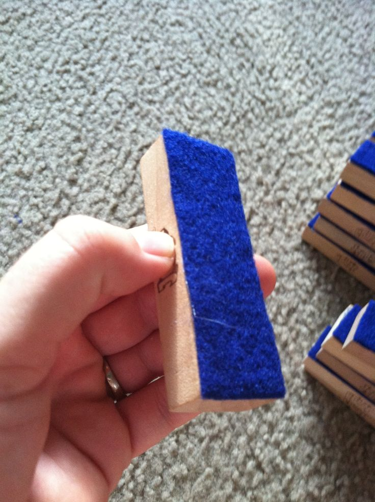 Mini student Whiteboard erasers. Glued 23 cent felt from Walmart onto Jenga blocks. No more tissues all over the room or Pom poms ripped off the markers!