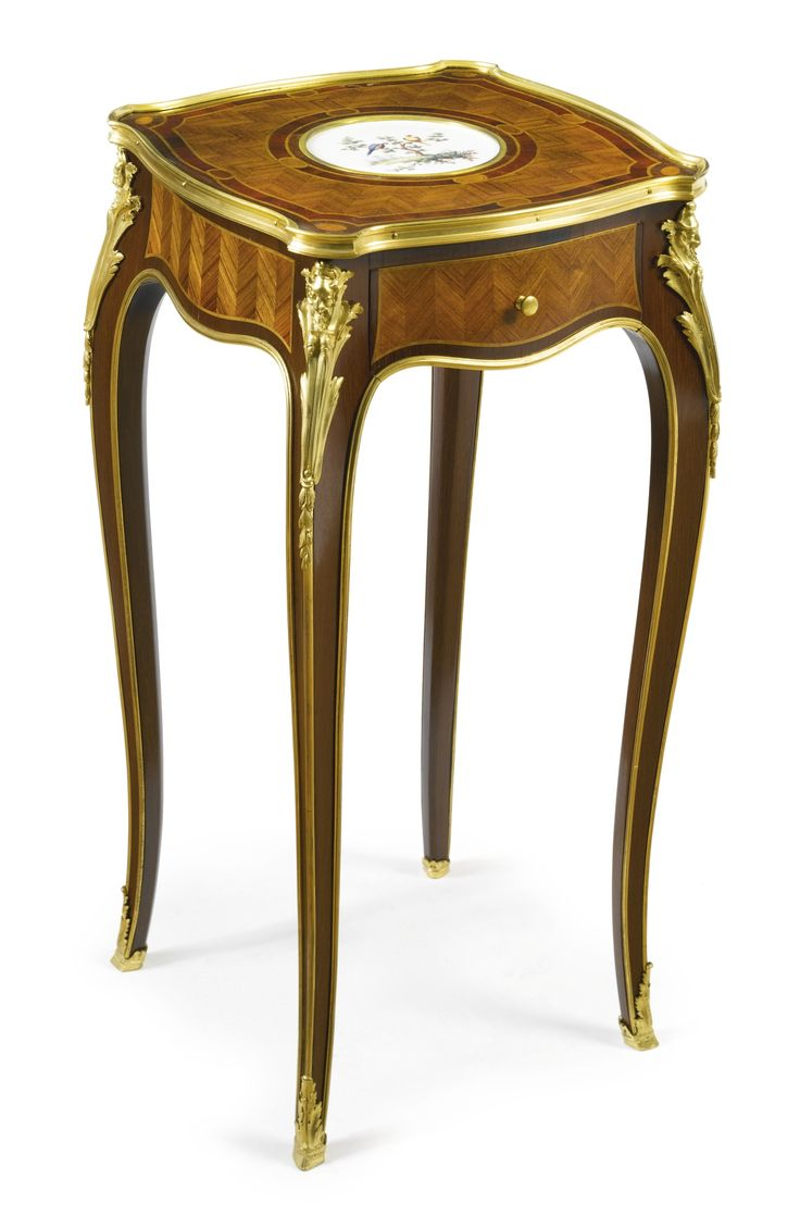 ESCALIER DE CRISTAL A GILT BRONZE MOUNTED MAHOGANY, KINGWOOD AND SÈVRES  STYLE CERAMIC TABLE