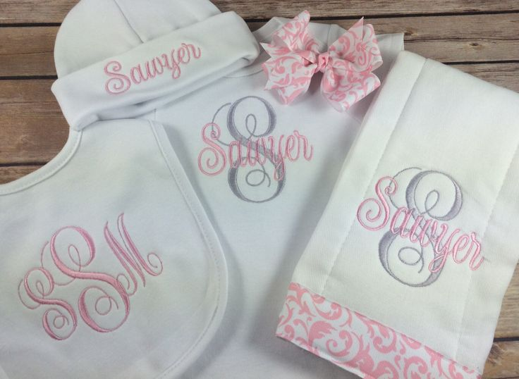 Baby Girl ONESIE OUTFIT, Personalized Interlaced Vines Monogram Bodysuit, Pink Personalized Baby Onesie Burp Cloth, Initial Monogram Newborn by StitchinDoodle on Etsy https://www.etsy.com/listing/242352625/baby-girl-onesie-outfit-personalized