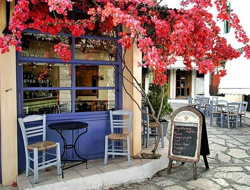 Sidewalk cafe on the Isle of Crete, Greece.: Favorite Places, Greece Cafe, Color, Beautiful Places, Beautiful Greece, Islands, Travel, Crete Greece, Sidewalks Cafe
