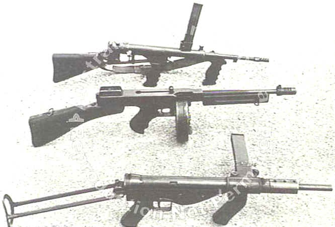 Three submachine guns used by Australian forces during WW2. From top to bottom: A 9mm Owen Mark 1, a .45 Thompson and a 9mm Austen Mark 1 submachine gun.