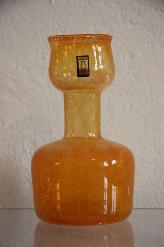 Hungarian Apricot Glass Karcag Vase by RetroKombinat on Etsy, $95.00