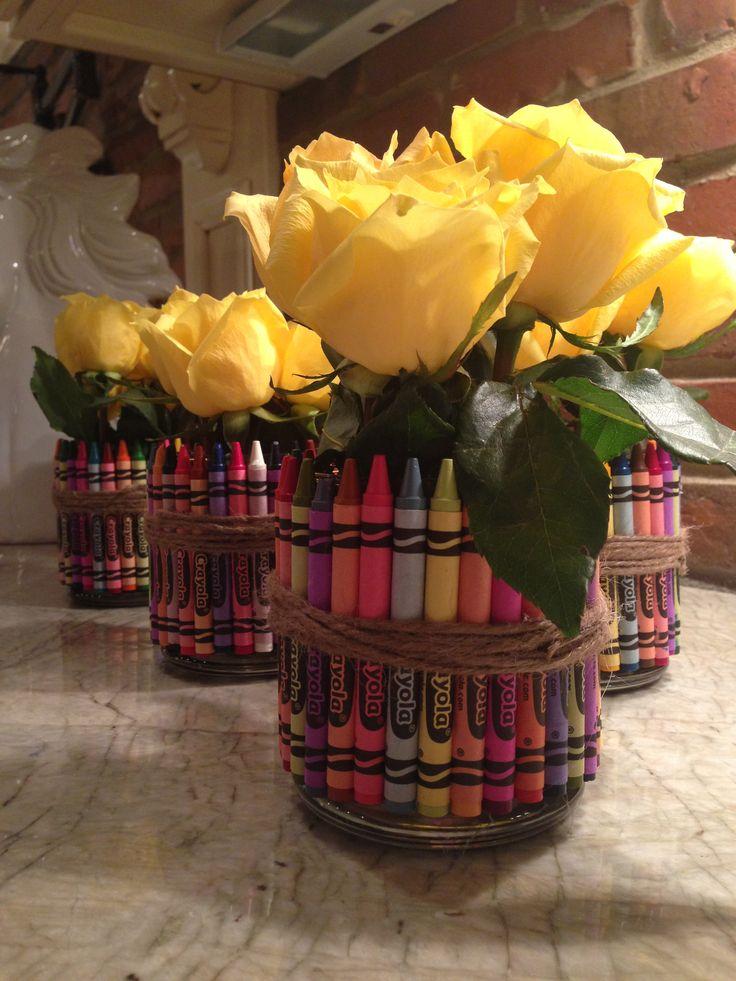 Back to school gift for teachers. Crayon vase. Teacher appreciation idea.