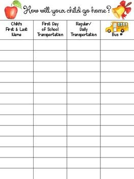 """I added """"How Will You Get Home? Transportation Chart & Tags"""" to an #inlinkz linkup!https://www.teacherspayteachers.com/Product/How-Will-You-Get-Home-Transportation-Chart-Tags-3294038"""
