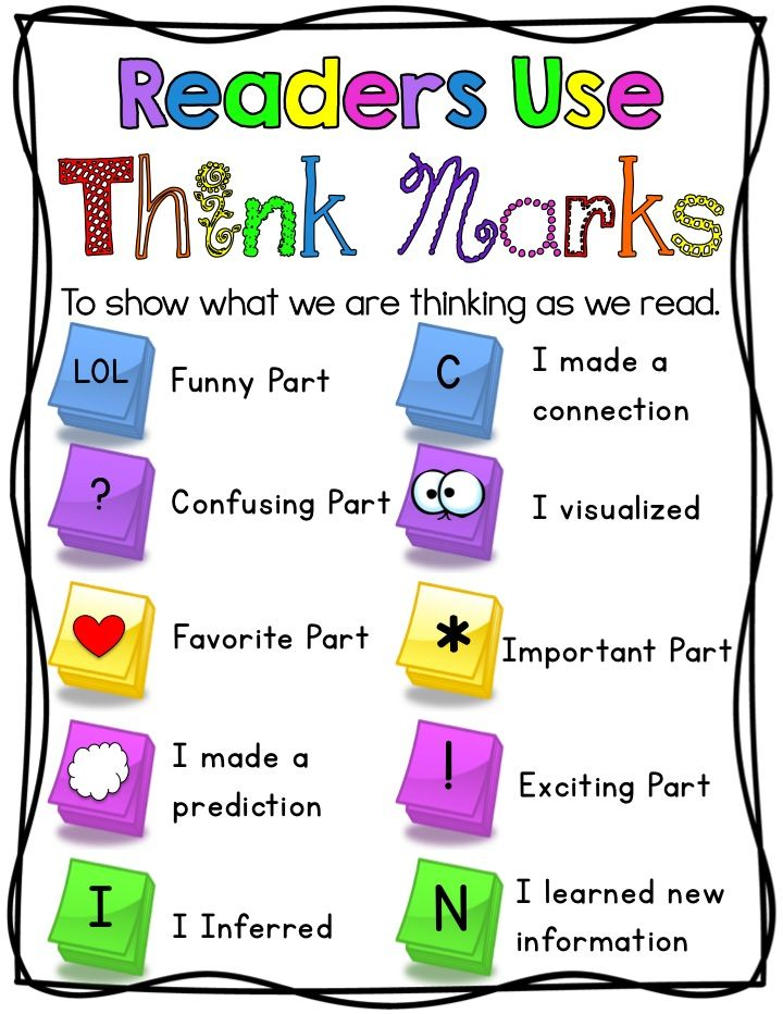 Thinking Marks for Reading. I love these!