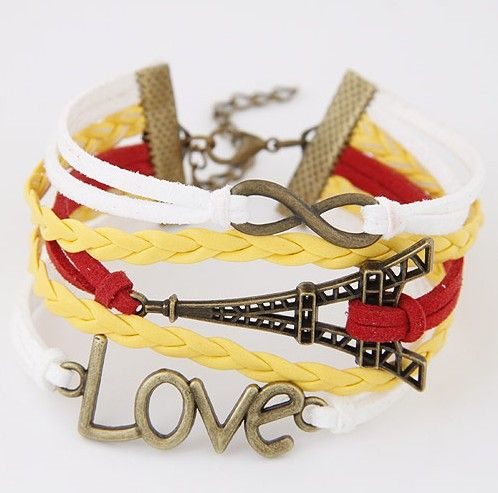 Yellow&Red Leather Wrap Bracelet