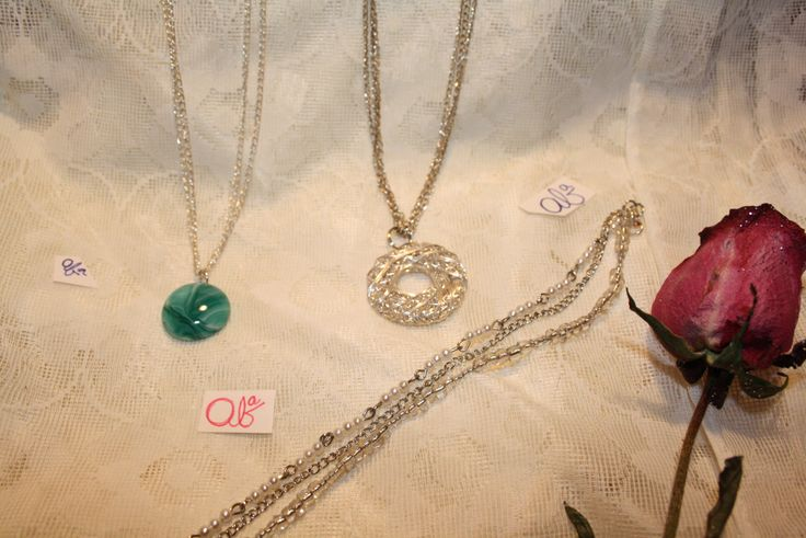 18' 3-Chain knot necklace $15 19' 2-Chain Turquoise Pendent necklace $15