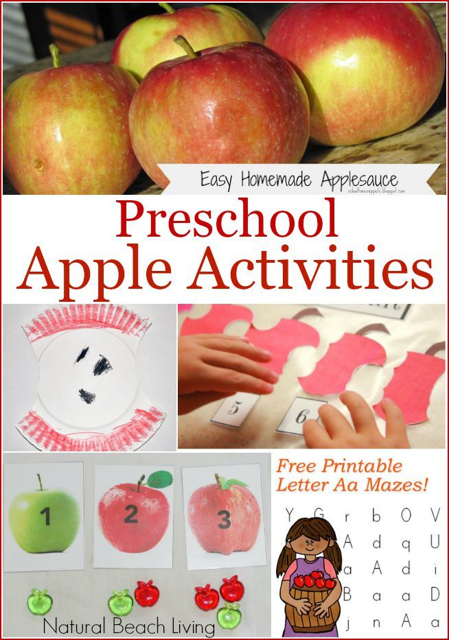 Preschool apple activities, free printables, easy homemade applesauce, crafts and more. The perfect Themed Apple Week for preschoolers