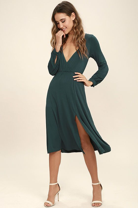 We've got plans tonight, and the Right for Me Forest Green Long Sleeve Midi Dress fits in perfectly! Soft jersey knit shapes a surplice bodice and long sleeves with button cuffs. Elasticized waist tops a midi-length skirt with sexy side slit.