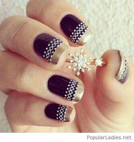 black-nails-with-gold-tips-and-tribal-print