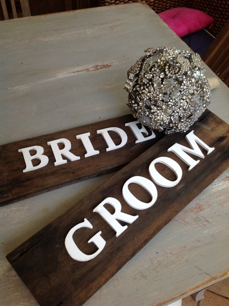 Bride groom sign hire for wedding props  $30 each at chiltons antiques
