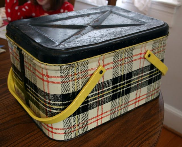 """use a vintage tin picnic """"basket"""" for sewing supplies"""