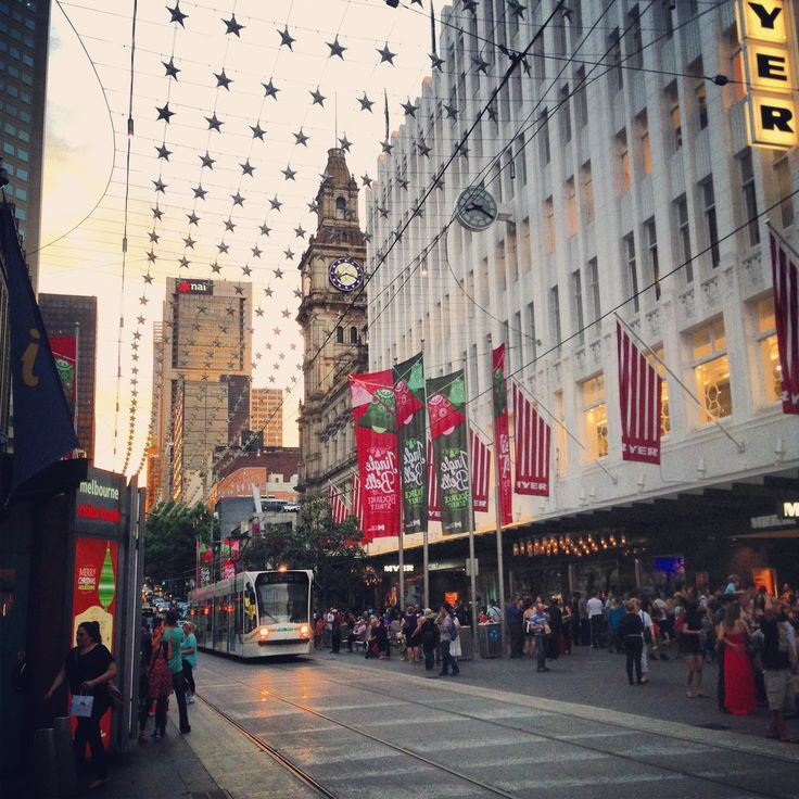 Beautiful summer evening in Melbourne's Bourke Street Mall during the festive season.