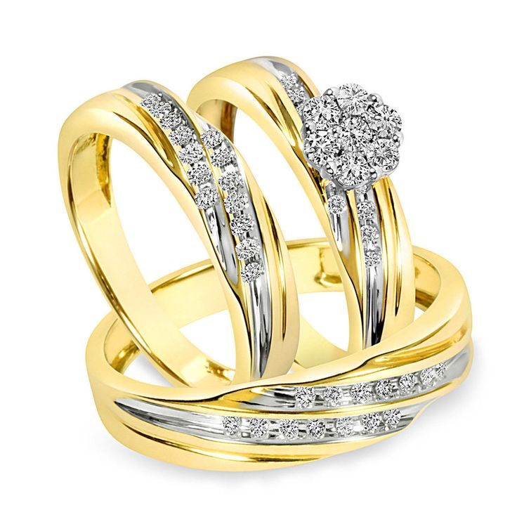 3/8 Carat D/VVS1 Trio Matching Wedding Ring Set 10K Yellow Gold #AffinityGold #EngagementWeddingBand #EngagementWeddingAnniversaryPromiseValentine