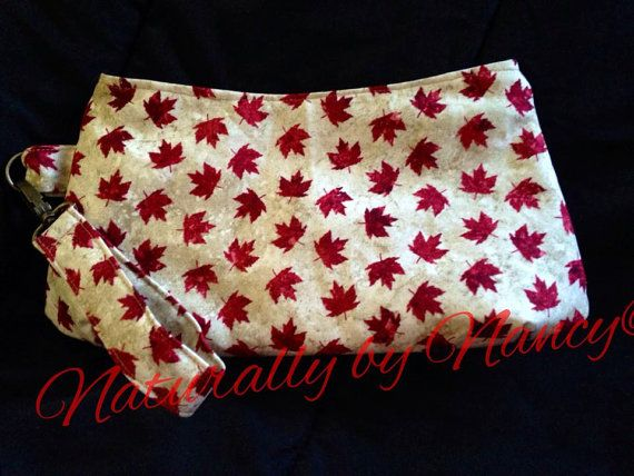 Maple Leaf clutch with matching wrist strap