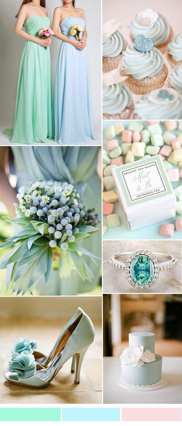 mintově zelená,tyrkysová a pudrově růžová trending mint and blue wedding color