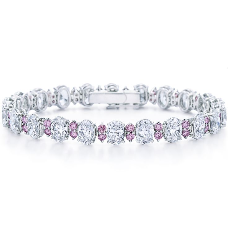 White and pink diamond bracelet in platinum from Kwiat at DK Gems. You will find a large selection of diamond bracelet and gold bracelet at DK Gems, the Best duty free st maarten jewelry stores located on Front street in Philipsburg.