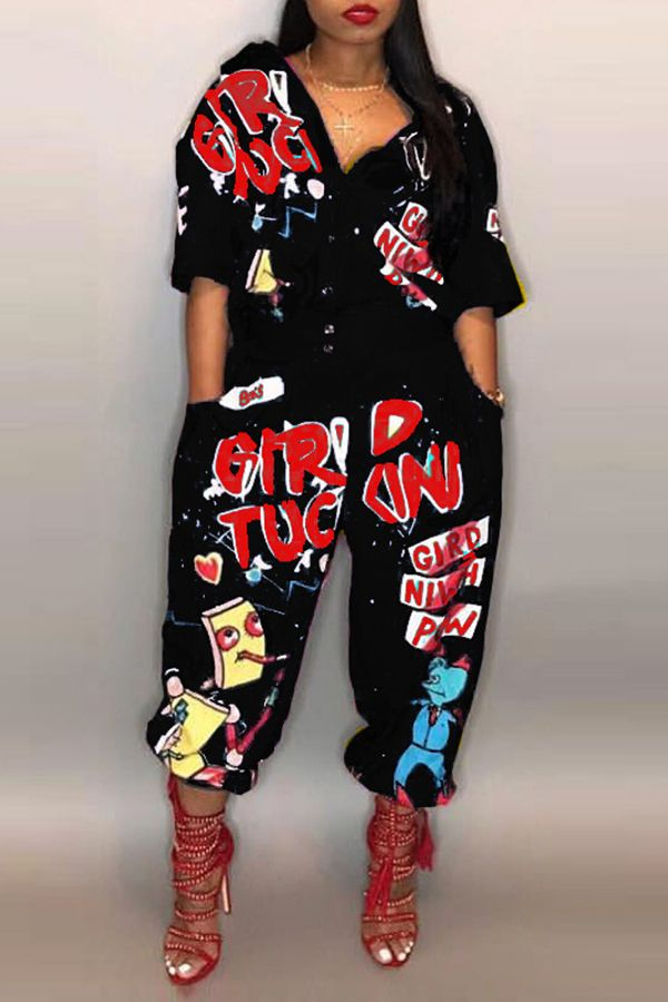 be7b5a07e39 Lovely Euramerican Cartoon Printing Black Polyester One-piece  Jumpsuits_Jumpsuit_Jumpsuits_LovelyWholesale | Wholesale Shoes,Wholesale  Clothing, ...