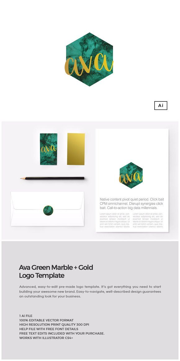 Ava Green Marble+Gold Logo Template by The Design Label on @creativemarket