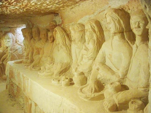 Last supper carving Chamber of the Black Hand. It has taken miner Ron Canlin 14 years to complete the 500-plus carvings to date including chinese warriors, mythological creatures, wild animals.