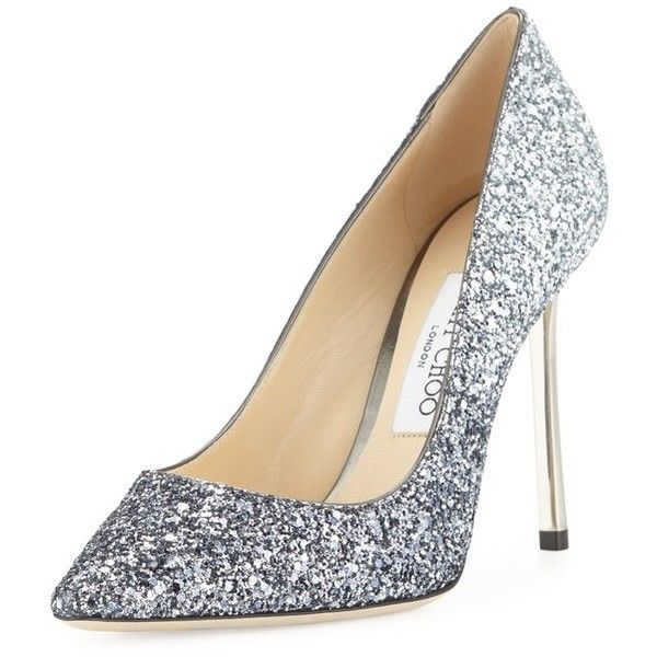 Jimmy Choo Romy Glitter PointedToe 100Mm Pump, Navy/Silver ($675) ❤ liked on Polyvore featuring shoes, pumps, navy, silver pointy toe pumps, silver shoes, pointed-toe pumps, silver metallic shoes and silver glitter shoes
