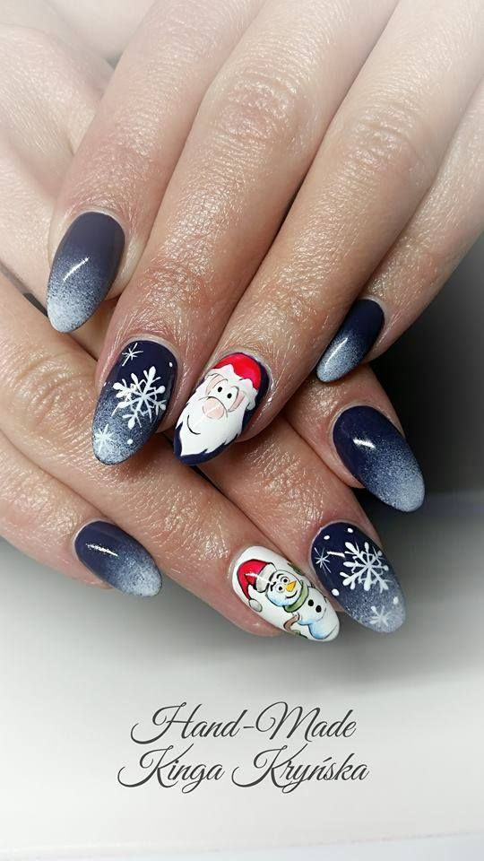 Gel Polish Midnight Ocean oraz Sugar Effect by Kinga Kryńska Indigo Young Team #snowflake #nails #nails #winter #winternails #ombre #navy #christmas
