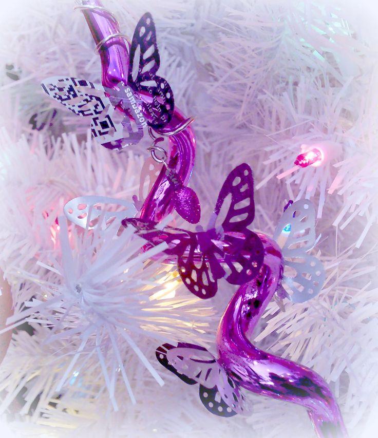 Spiral Ornament With Aluminum Can Butterflies