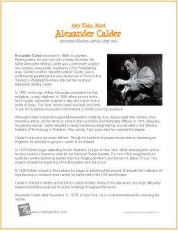 Alexander Calder | Printable Biography for Kids - http://makingartfun.com/htm/f-maf-printit/calder-printit-biography.htm