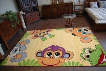 Dětský koberec Monkey - žlutý
