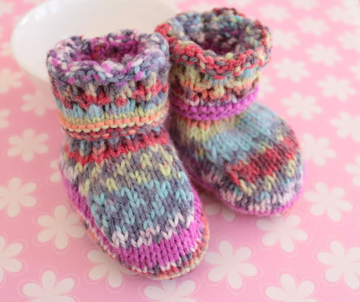 Fairisle Booties, Colourful Booties, Funky Crib Shoes, Baby Girl Booties, Hand Knitted Booties, Baby Boots, 0 to 3 months, New Baby Gift by Pinknitting on Etsy