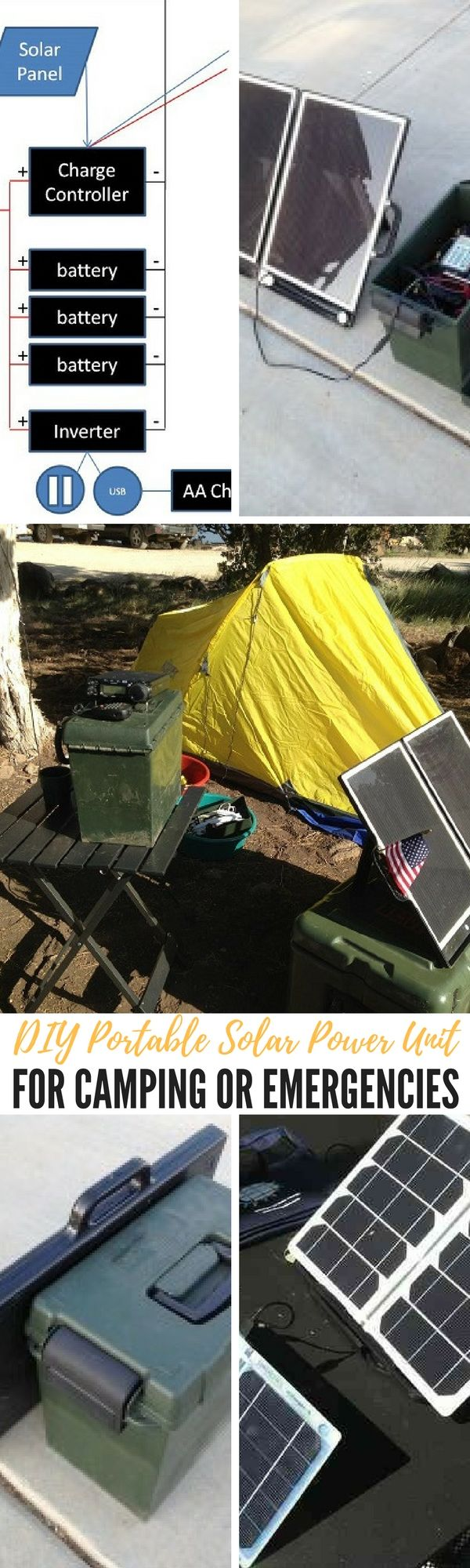 DIY Portable Solar Power Unit For Camping Or Emergencies — Having electricity is a huge convenience, even if you're camping. Not only can it charge electronics you can use for critical equipment, it can make things more comfortable.