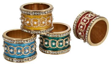 Imperial Napkin Holders Set Of 4 Assorted traditional napkin rings