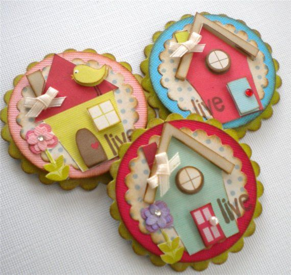 HOUSE EMBELLISHMENTS - Set of 3 Sweet Altered House Embellishments by KindrasCreations