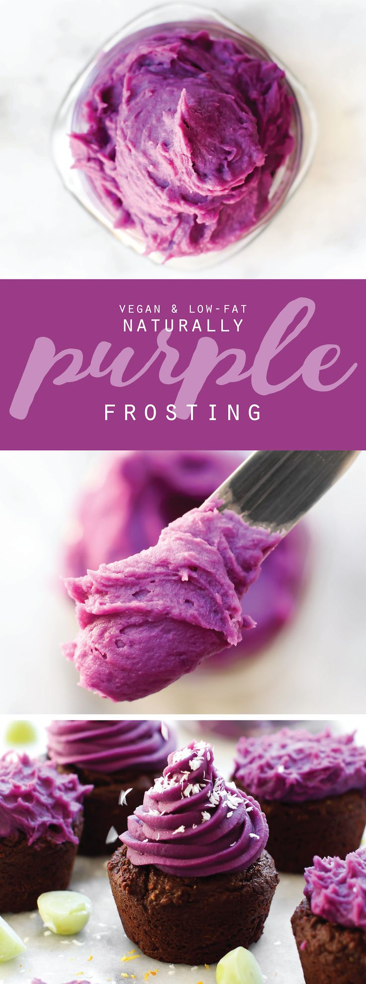 Vegan 3-Ingredient Purple Sweet Potato Frosting! Thick, creamy, pipe-able, and naturally colored                                                                                                                                                                                 More
