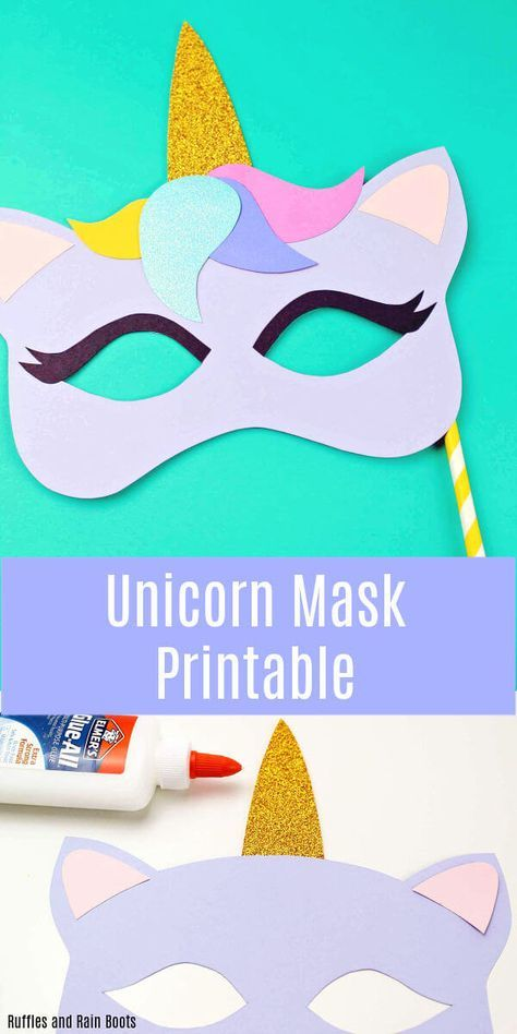 Printable Unicorn Mask - Coloring Page and Template | unicorn party ...