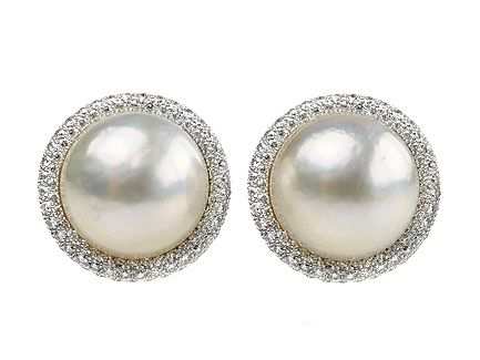 18ct Two Color Gold Diamond Pave Set Border Mabe Pearl 14mm Clip Earrings