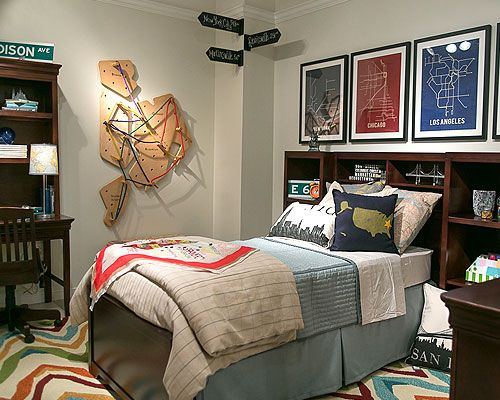 Travel Themed Bedroom For Seasoned Explorers: Room Scene With Maps And Young America Furniture