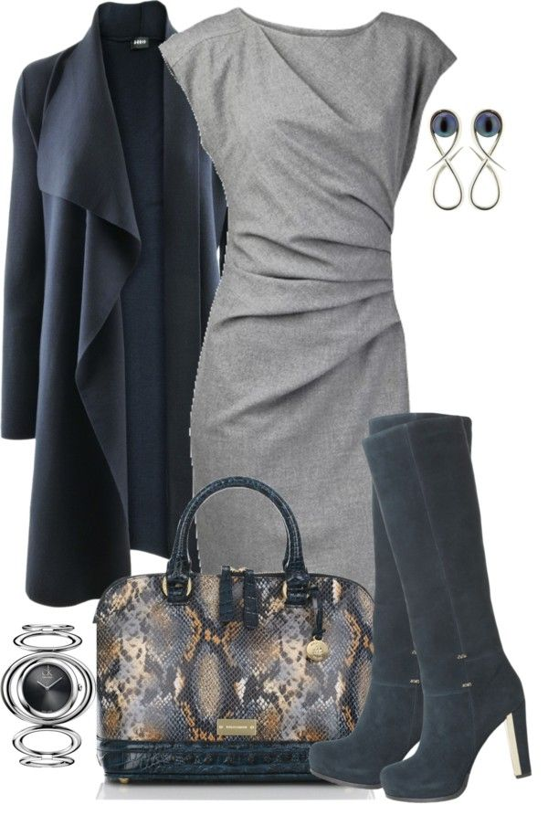 """I really love parts of the outfit (for instance, the dress)... """"Cardigan, Dress and Boots"""" by averbeek on Polyvore - love the cardigan"""
