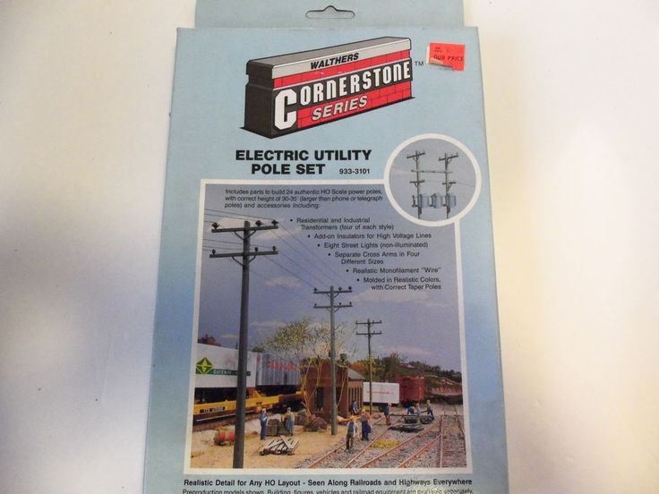 WALTHERS CORNERSTONE SERIES ELECTRIC UTILITY POLE SET 933-3101 HO SCALE TRAINS #Walthers