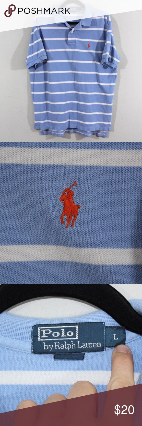 Polo by Ralph Lauren Short Sleeve Golf Shirt Blue Polo by Ralph Lauren  Excellent shirt  Comes from a smoke-free household  Blue striped with a Red Pony logo  The size is Large and the measurements are 23 inches underarm to underarm and 28.5 inches shoulder to base  Cotton  Check out my other items for sale in my store!  MX Polo by Ralph Lauren Shirts Polos