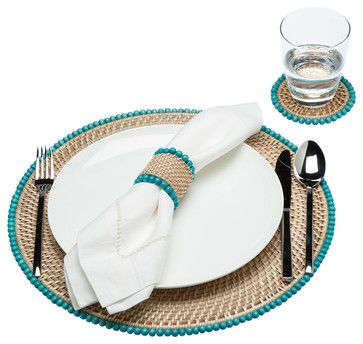 Round Rattan Placemats with Wood Beads, Set of 2 - beach-style - Placemats - KOUBOO