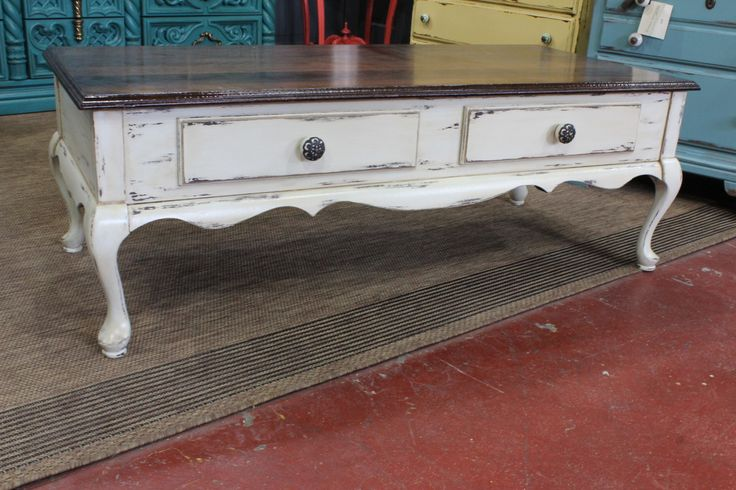 check it out—our first ever coffee table! stained top with the